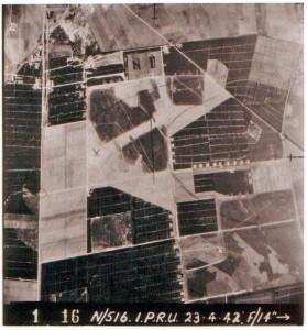 Luftfoto 1942 fra den af tyskerne nyanlagte Rom flyveplads