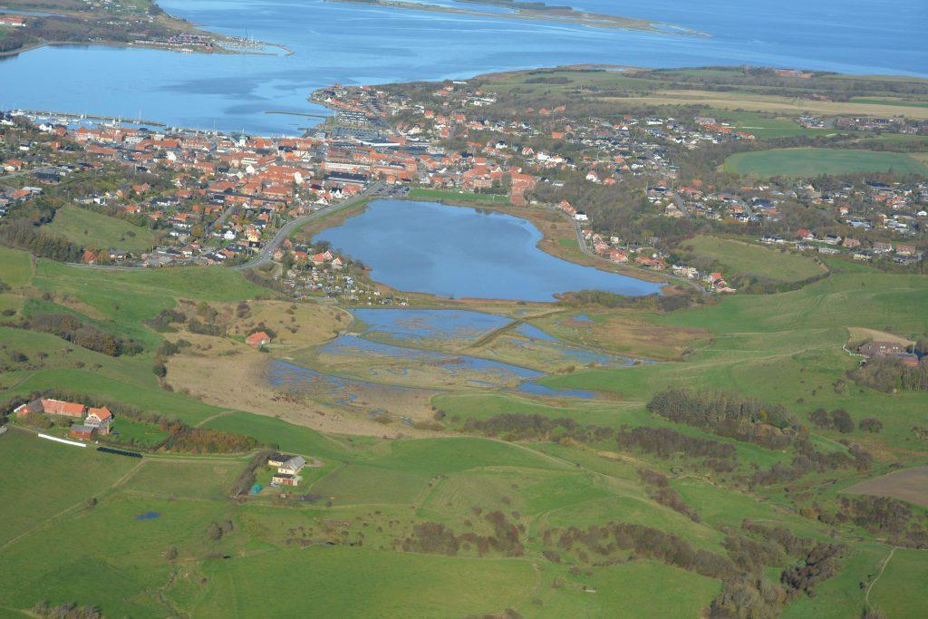 Luftfoto, fosforvådområde i Lemvig Sødal